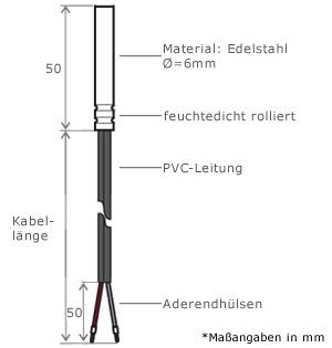 NTC 20KOHM Capteur de température 1 Mètre PVC Câble Sonde chaudière NTC20K